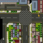 A view of the streets from the game. Each image is created using a standard stock of 16x16 pixel blocks.