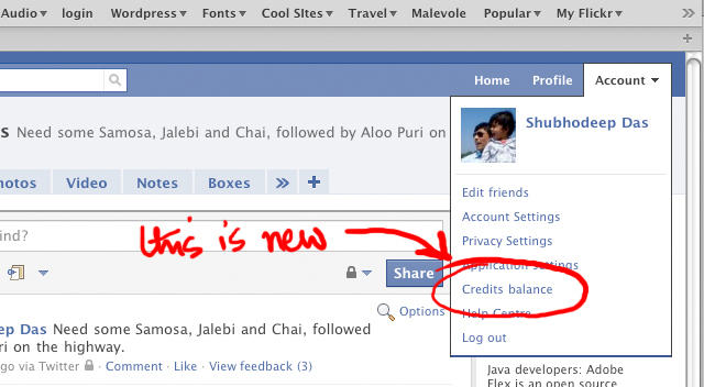 Credits Balance on Face/book