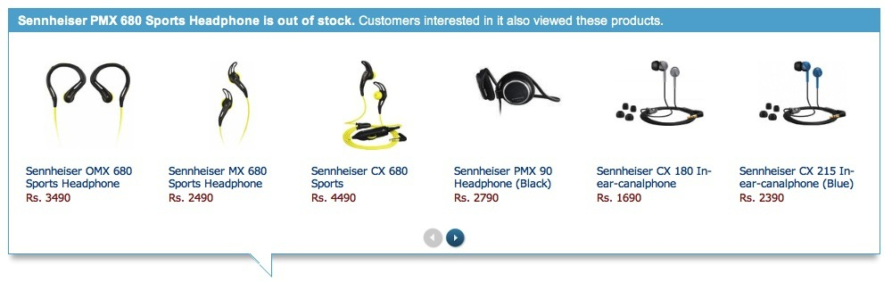 Flipkart's product suggestion widget for items that are out of stock