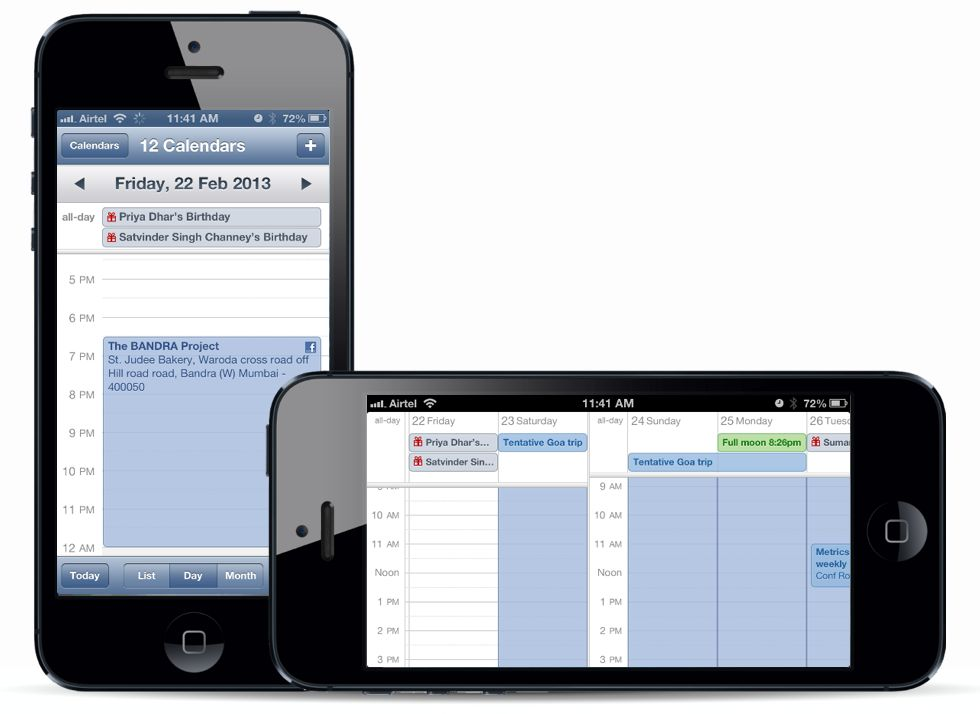 Calendar weekly and daily view toggle on iPhone by tilting the screen